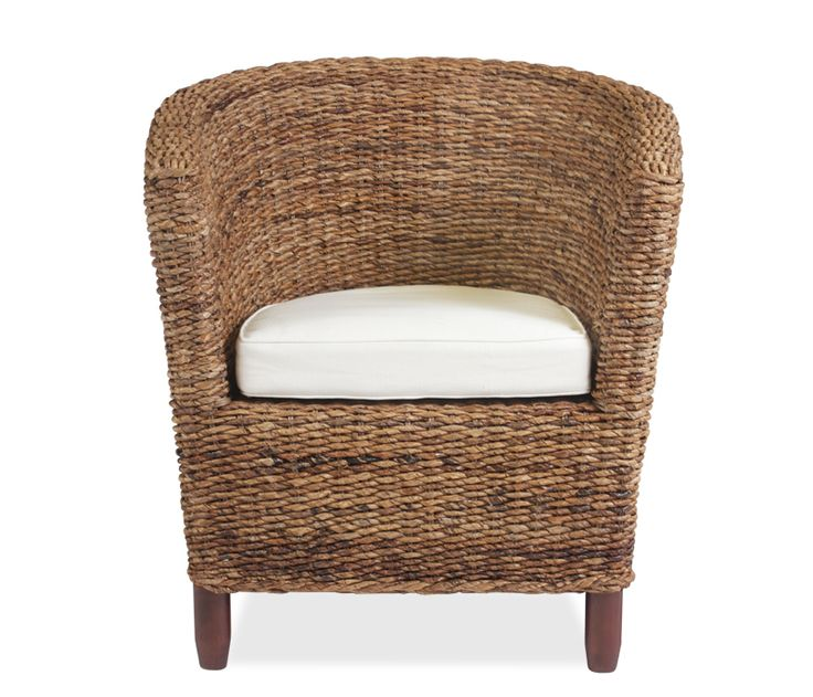 Madrid Woven Club Chair - Constructed of hand woven natural sea grass with mahogany frame and legs, the Madrid makes the perfect club chair. Features a 100% cotton linen cushion.