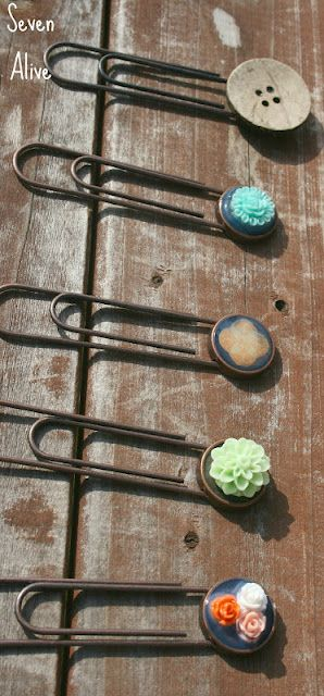 Embellished jumbo paperclip bookmarks. Super cute, would be a great gift for a book-lover!