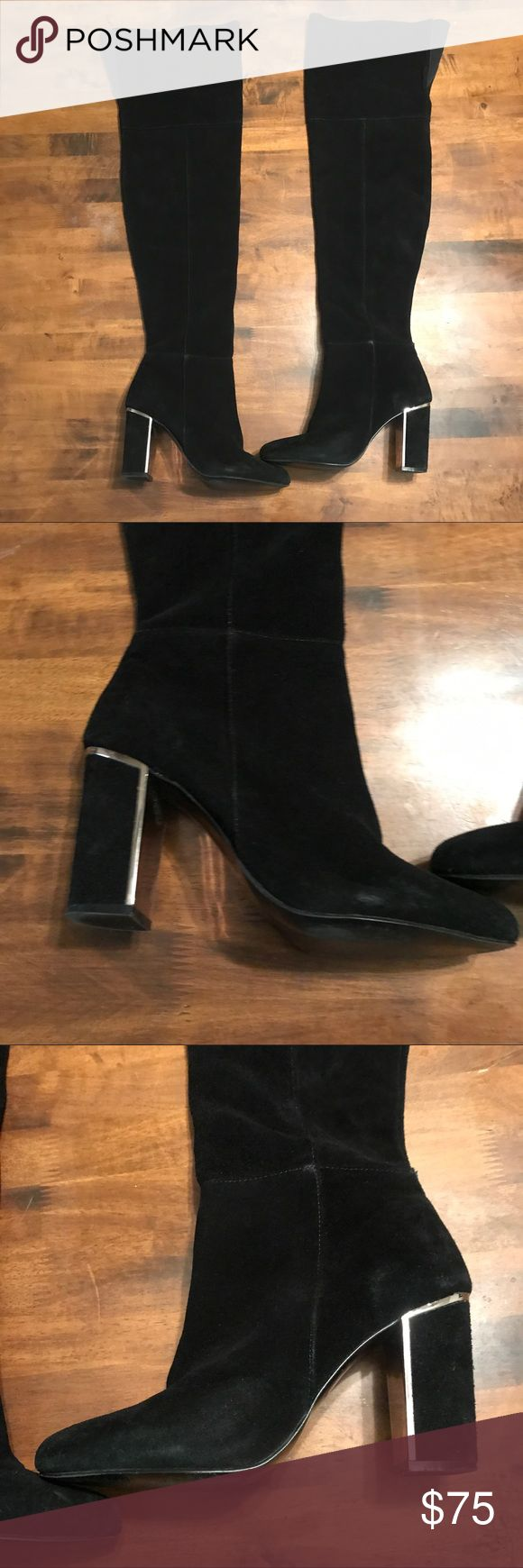 Aldo thigh high boots Black suede thigh high boots with gold trims on heel. Size 8.5 Aldo Shoes Over the Knee Boots