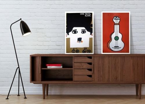 Scandy sideboard. Those white frames really make the artwork pop.