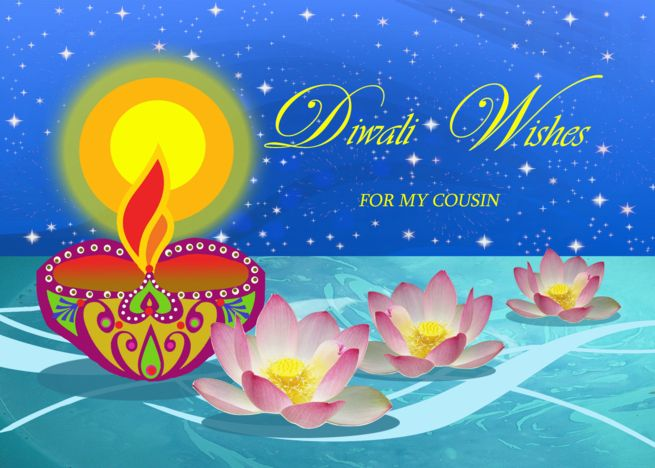 Diwali Wishes For Cousin Diya Oil Lamp With Lotus Flowers Stars Card Ad Ad Diya Oil Cousin Diwali Wishes Diwali Greeting Cards Diwali Greetings