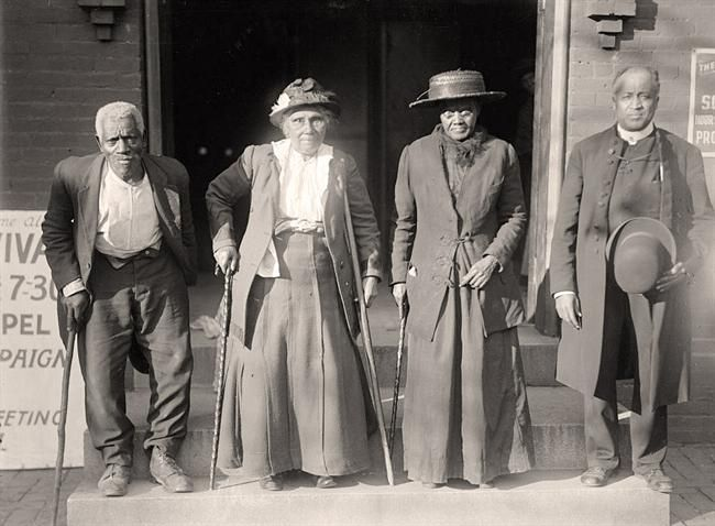This is an important picture of Slaves Reunion. Lewis Martin, Age 100; Martha Elizabeth Banks, Age 104; Amy Ware, Age 103; Reverend S.P. Drew, Born Free. It was taken in 1917 by Harris & Ewing.
