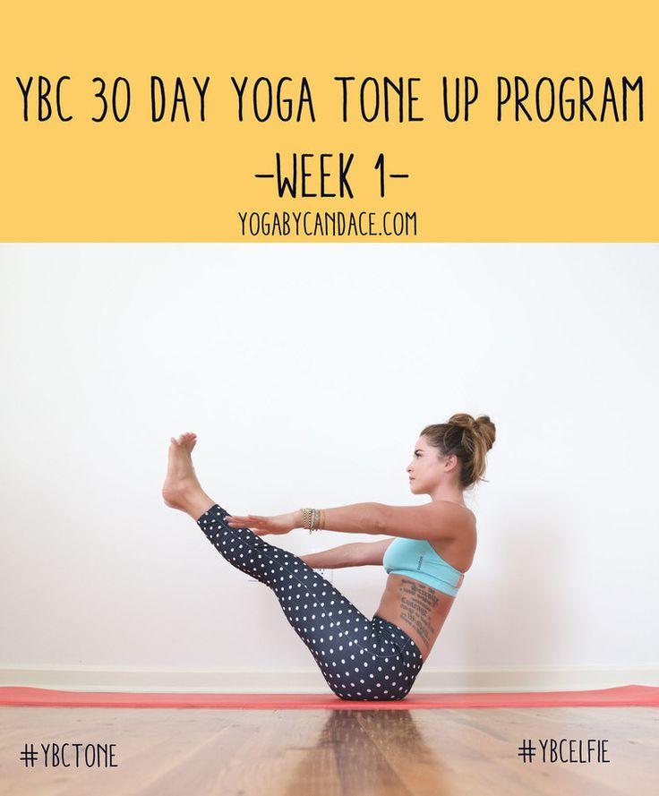 Pin now, practice later! 30 Day yoga program to tone - week 1. Wearing: Kira Grace leggings, Reebok bra.
