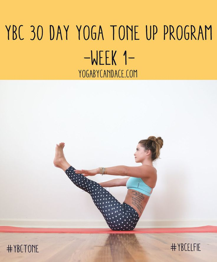 Pin now, practice later! 30 Day yoga program to tone - week 1. Wearing: Kira Grace leggings, Reebok bra.