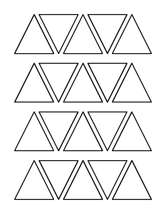 2 inch triangle pattern. Use the printable outline for crafts, creating stencils, scrapbooking, and more. Free PDF template to download and print at http://patternuniverse.com/download/2-inch-triangle-pattern/