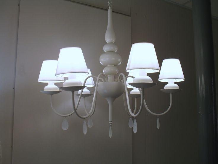 Lampadario sospensione candeliere con paralumi traslucidi