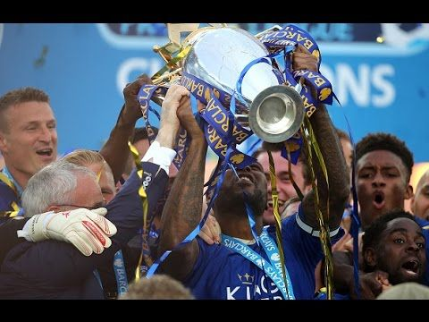 Leicester City's Wes Morgan Lifts The Premier League Trophty 2015/16 Champions! - YouTube