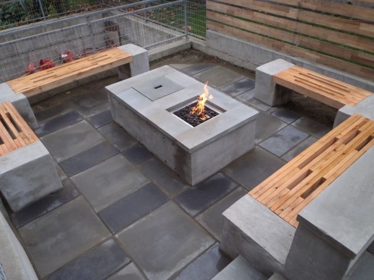 accessories interactive outdoor living space decoration with rectangular grey modern gas fire pit along - Concrete Tile Garden Decor