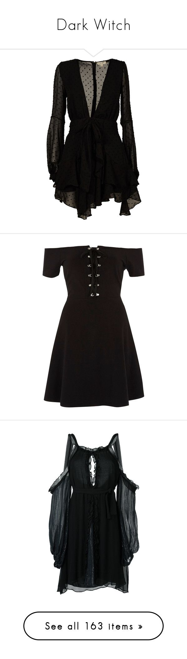 """Dark Witch"" by ali-thegr8 ❤ liked on Polyvore featuring dresses, black, womenclothingdresses, long sleeve polka dot dress, long sleeve dress, dot dress, button dress, long sleeve mini dress, skater dresses and women"