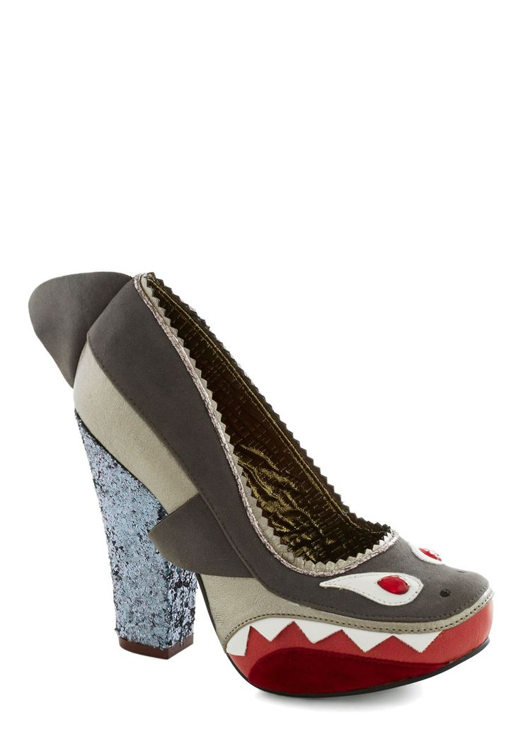 Shark! Who Goes There? Heel. As you step out of the limousine, gently placing these shark-adorned grey heels byIrregular Choice on the pavement, the night club queue erupts in excited hubbub over your arrival! #multi #modcloth