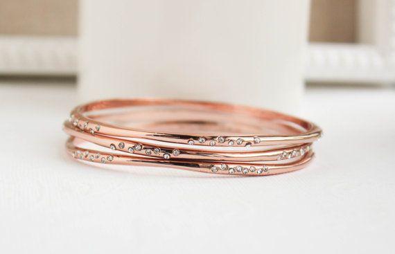 Rose Gold Bangles Rose Gold Bracelet Rose Gold by PROJECTDAHLIA