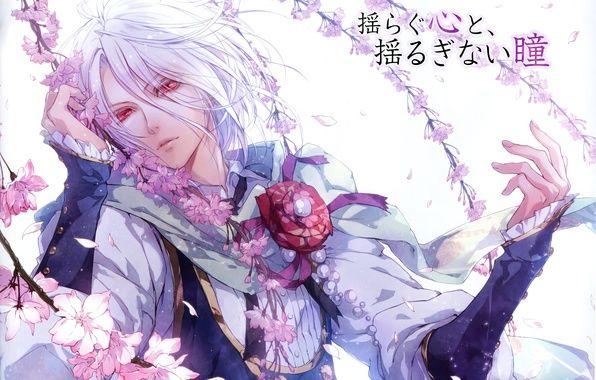 Фото обои арт, парень, сакура, reine des fleurs, usuba kagerou, orpheus, красные глаза, иероглифы, ветки, белые волосы