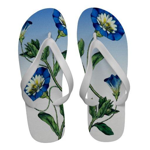 VINTAGE FLORAL - BLUE FLOWERS Flip Flops $39.95 #flowers #floral #blue #nature #flipflops http://zazzle.com/gayriot*