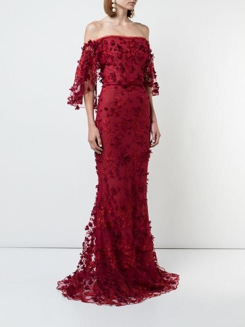 5917abc45f8b Marchesa Notte Embroidered off-the-shoulder Gown in 2019