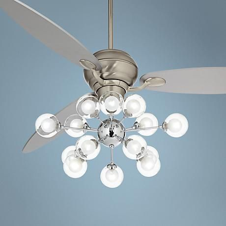66 Spyder Glass Orbs LED Steel Silver Blade Ceiling Fan Light Up My L