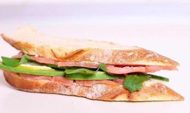 Sandwich with salted salmon and avocado