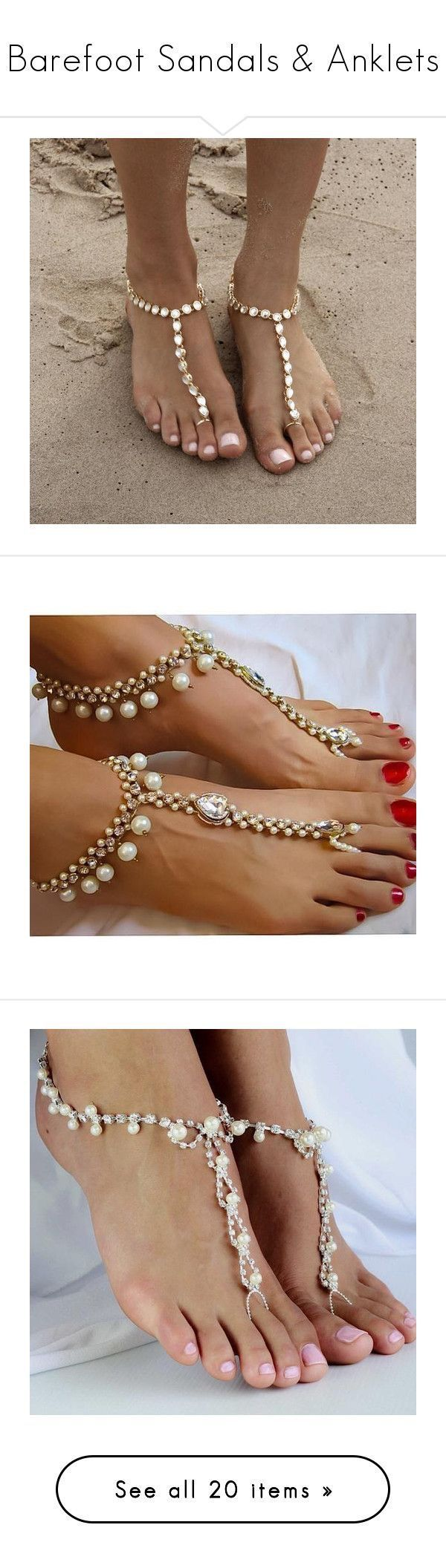 Barefoot Sandals & Anklets by bodykandycouture  featuring. women's fashion, jewelry, boho jewellery, Ankle chains, bohemian Bride, jewelry, payal anklet, gold, bohemian style jewelry, boho style jewelry and gypsy wedding shoes beach foot jewellery BareFoot sandals. BodyKandyCouture.com