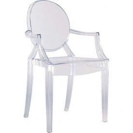 Louis XIV style clear lucite chair.