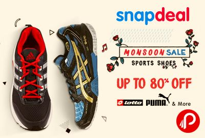 Snapdeal #MonsoonSale is offering Upto 80% off on Lotto, Puma Sports Shoes. Sports Shoes category include Basketball Shoes, Cricket Shoes, Football Shoes, Hiking Shoes, Indoor Court Shoes, Running Shoes, Tennis Shoes, Training Shoes & many more.  http://www.paisebachaoindia.com/lotto-puma-sports-shoes/