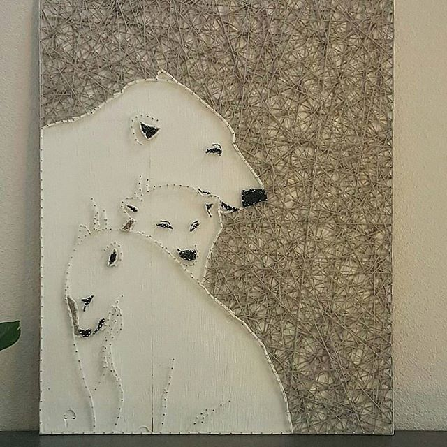 Polar bears string art by String Art Baku cute idea for winter decor