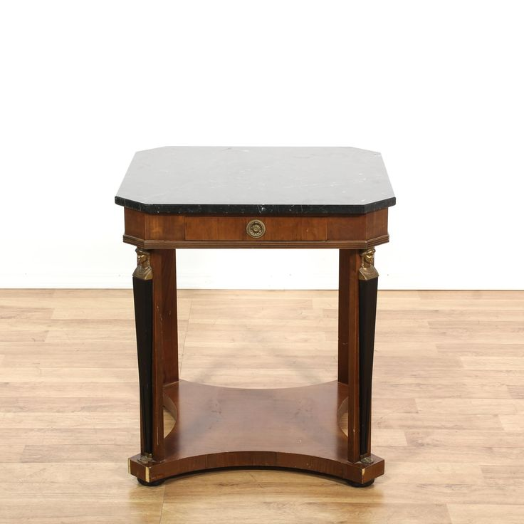 This end table is featured in a solid wood with a glossy mahogany finish. This European side table has a lined drawer, faux marble top, and carved legs. Perfect for adding a touch of old world elegance! #european #tables #endtable #sandiegovintage #vintagefurniture