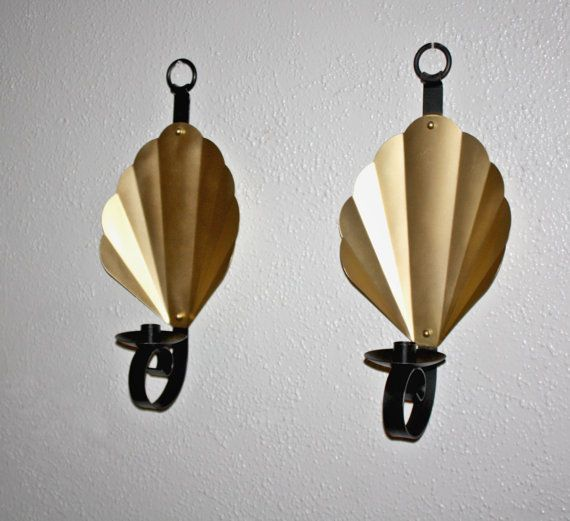 vintage pair black iron candle wall sconces hollywood regency scalloped gold reflector