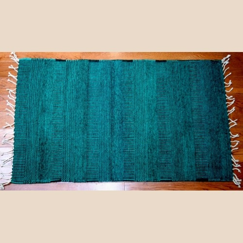 All Natural Turquoise Stripes Hand Woven Wool Rug