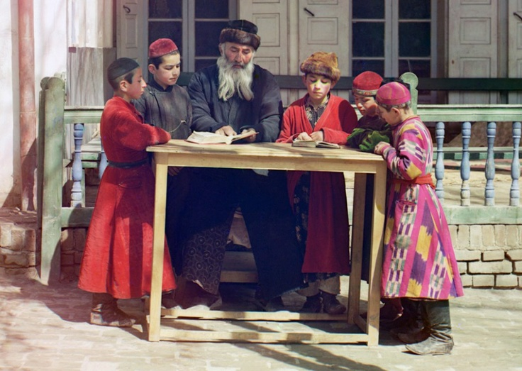 A group of Jewish children with a teacher in Samarkand, (in modern Uzbekistan), ca. 1910. Google Map, (Prokudin-Gorskii Collection LOC)
