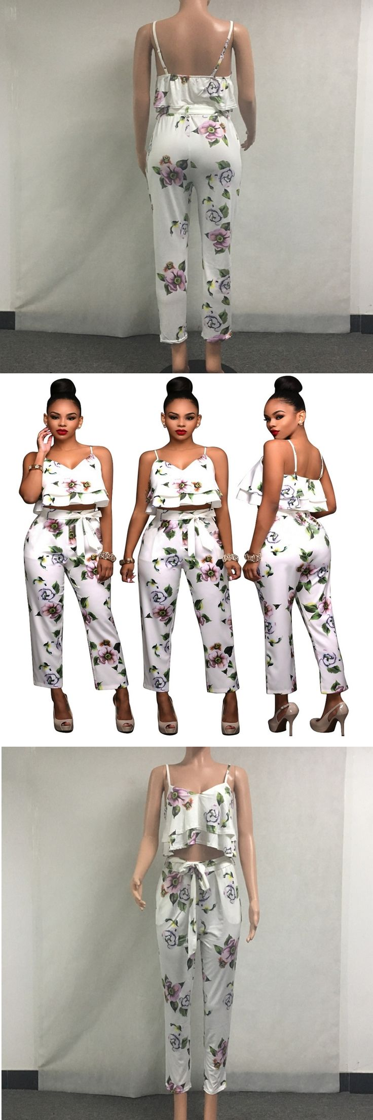 2017 Summer Style Floral Print Two Piece Jumpsuit For Women Ruffles Crop Top And Pants Suit Sexy Overalls Backless Mono Mujer