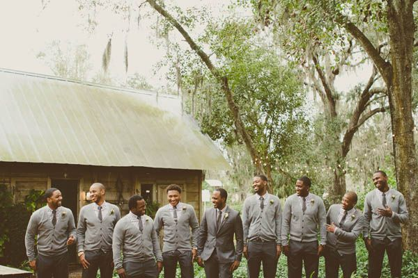 Groomsmen Sweater & Tie - Wedding Party - Grey, Peach & Creme Rustic Cross Creek Ranch Wedding - Tampa Wedding Photographer Stacy Paul Photography