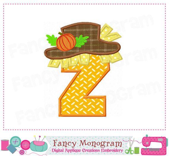 Thanksgiving Letter Z appliqueScarecrow Monogram by FancyMonogram