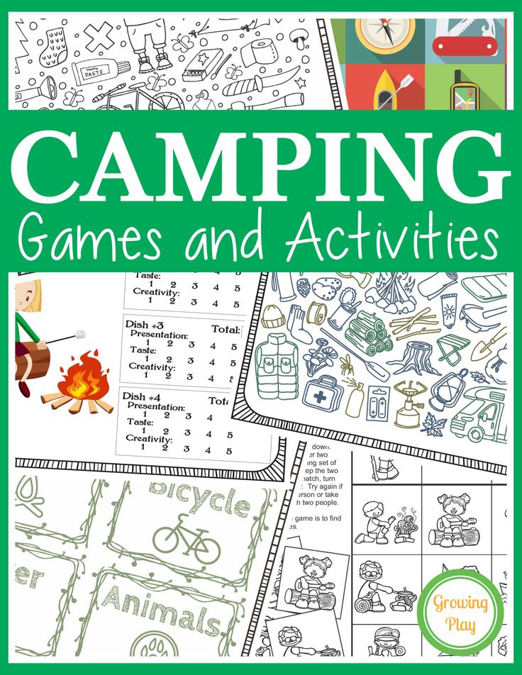 Camping Games and Activities digital download is a great packet for rainy day fun, campfire games, challenges and more from Growing Play.