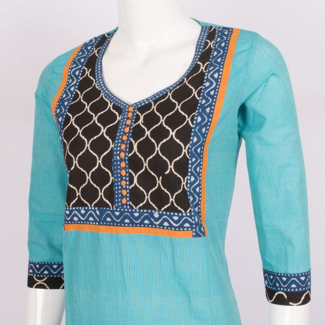 Buy online Hand Crafted Cotton Kurta With Block Prints & 3/4th Sleeve 10014325 - Size XL