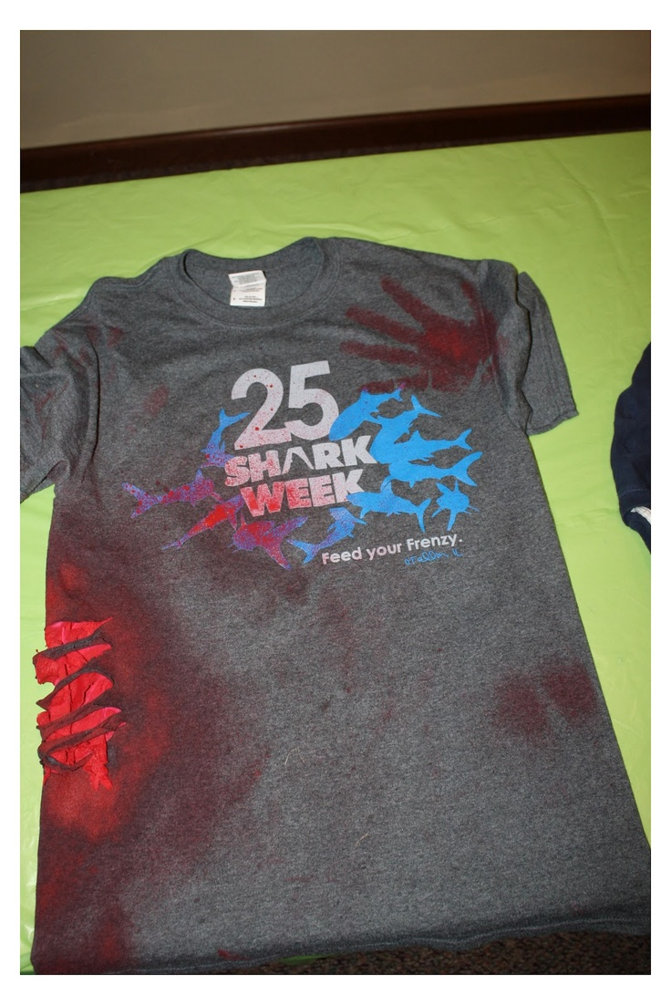 Our Shark Week - diy shark attack shirts