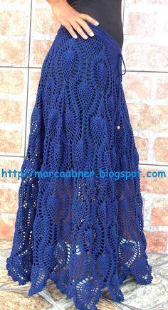 Blue maxi crochet skirt
