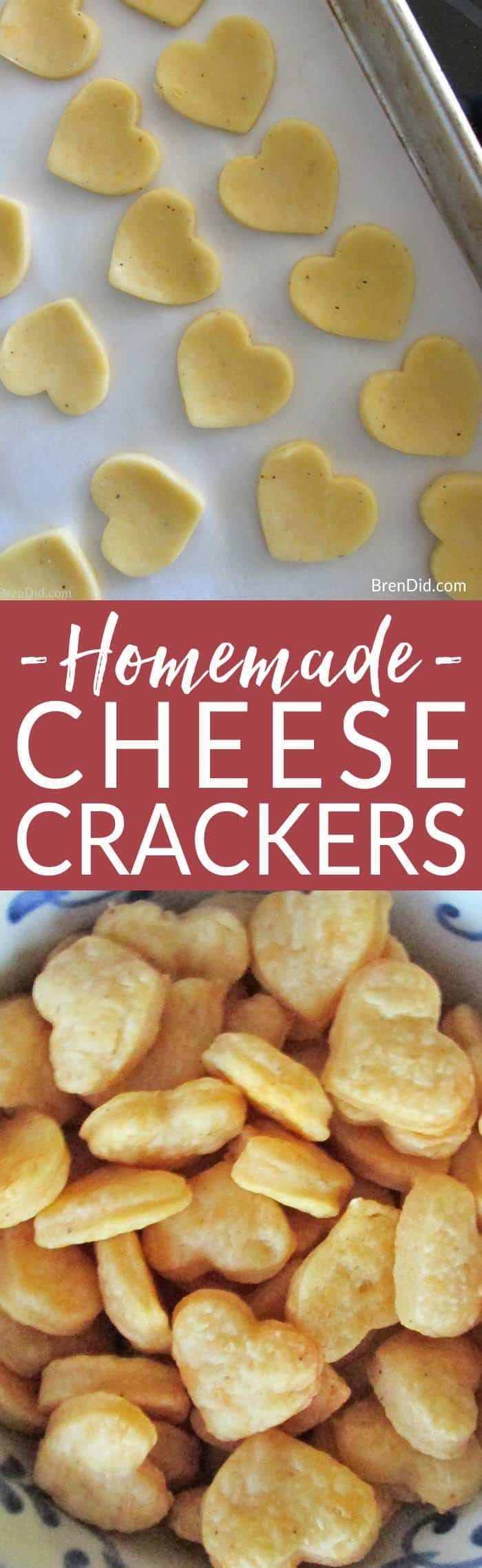 Healthy snack idea: easy, from scratch homemade cheese crackers recipe. Eliminate preservatives & additives from your diet. easy cheese crackers. healthy kids snack #healthykids #snack idea via @brendidblog
