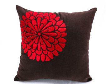 Rojo florales decorativos almohada cubierta, Dark Brown lino rojo bordado de la flor, moderna contemporánea casa, almohada marrón rojo amortiguador, sofá