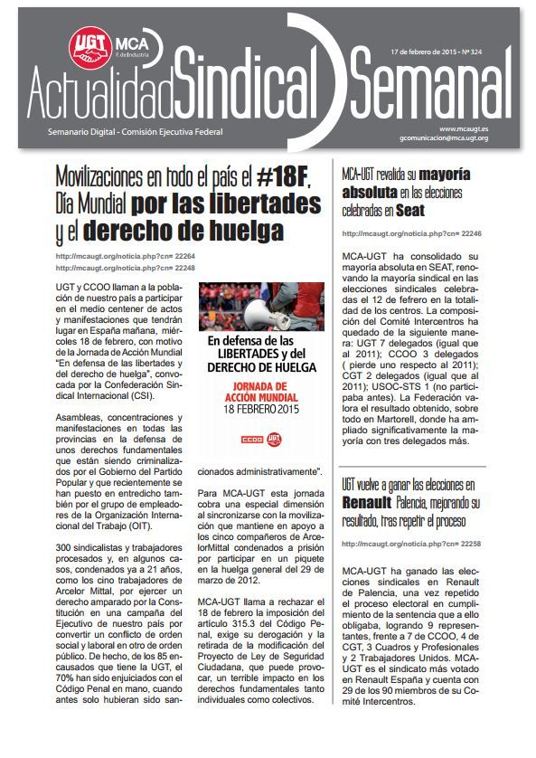 Ha salido Actualidad Sindical Semanal 324 http://mcaugt.org/noticia.php?cn=22270
