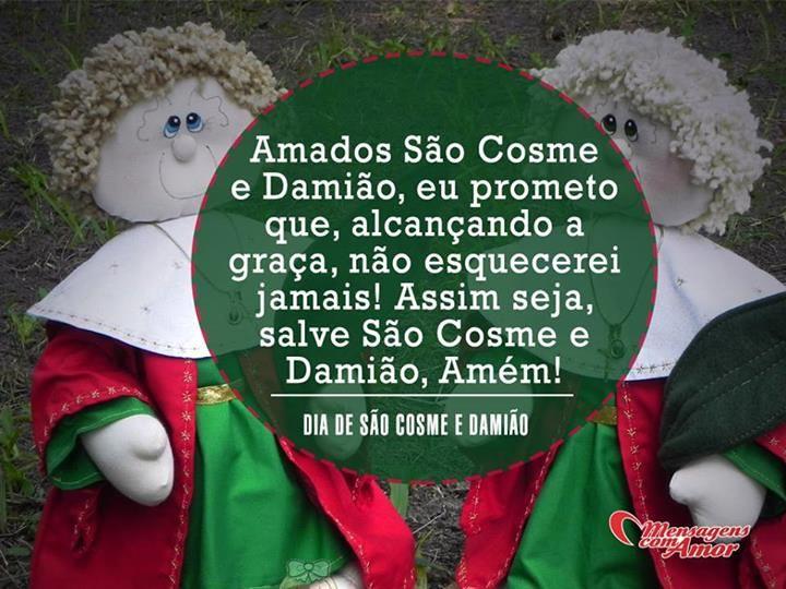 27 de setembro - Dia de São Cosme e Damião! #mensagenscomamor #datascomemorativas #religiosos