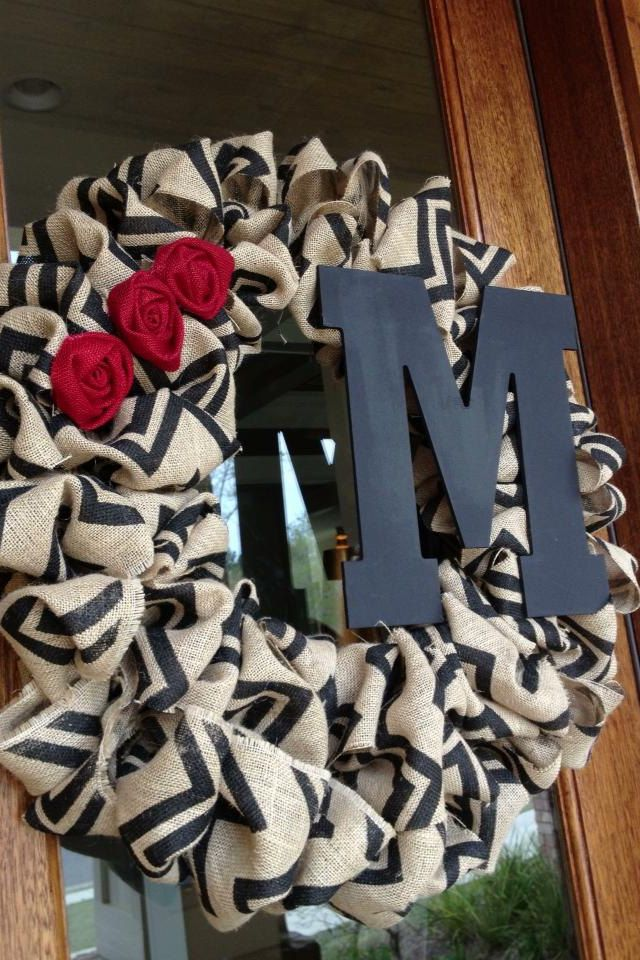 Custom Monogram Burlap Chevron Wreath with burlap roses. $50.00, via Etsy.