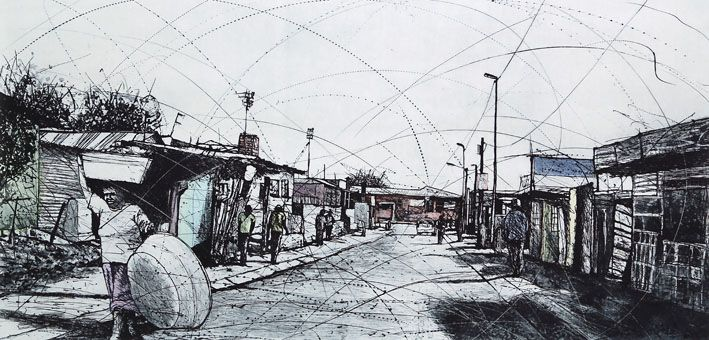 An original work by Phillemon Hlungwani entitled: ndhwalo va ringtela emakatleni Alex I (The bigger your problems, the harder you must work – and you will overcome them) etching and watercolour 82 x 141cm For more please visit www.finearts.co.za