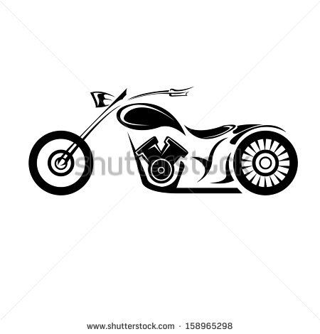 Black Silhouette of classic motorcycle isolated on white background. motorcycle icon. Raster version