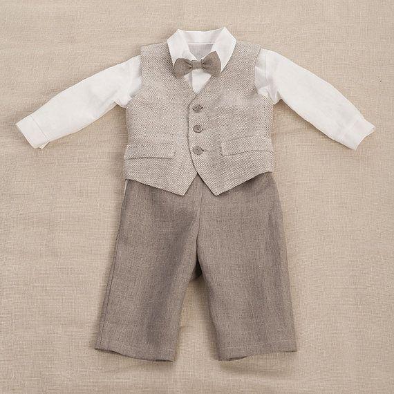 Kids boy natural linen suit size 26  27 inch baby boy by Graccia, $95.00