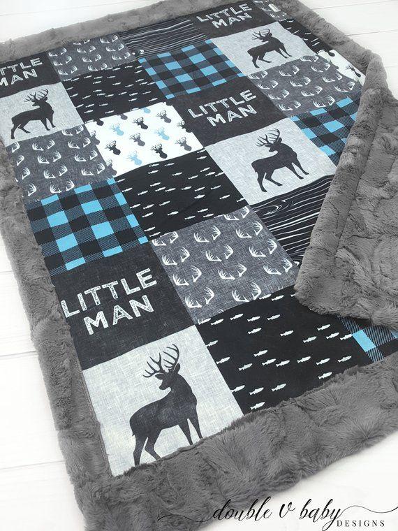 Little Man Minky Baby Blanket Buck Baby Quilt Baby Blue Deer Baby Blanket