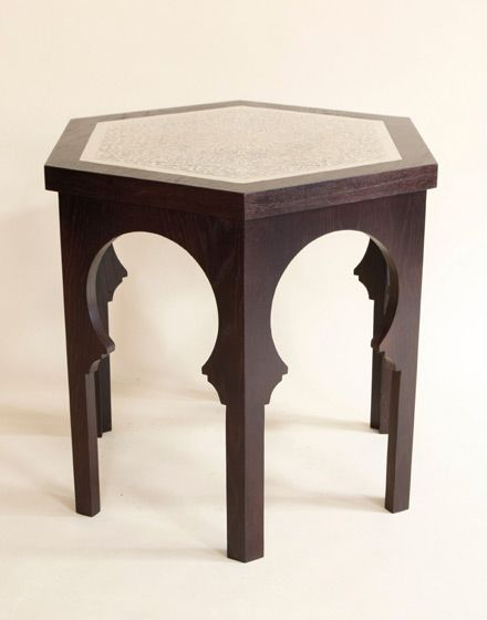 Moroccan Side Table with Silver Plated Finish