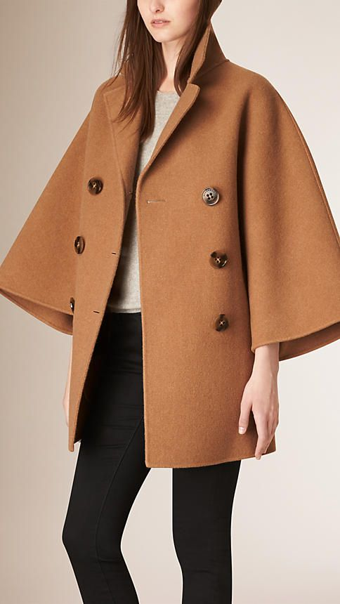 Camel Double Breasted Wool Poncho Coat - Image 1                                                                                                                                                                                 More