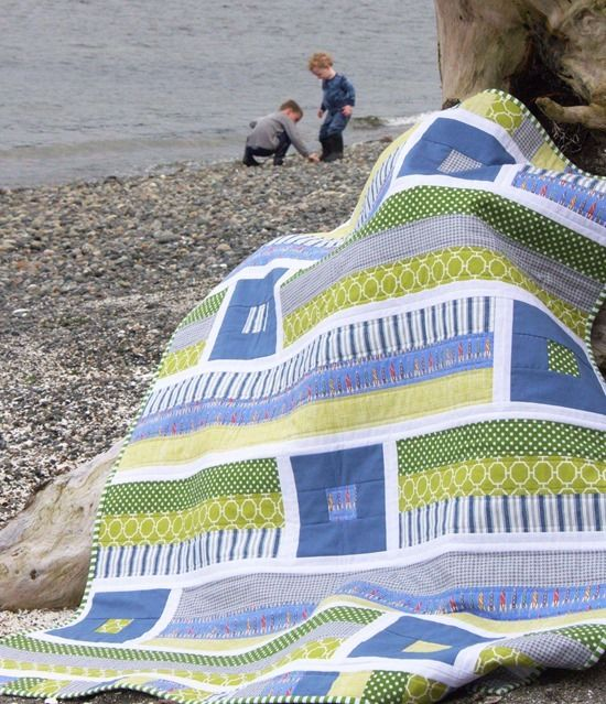Shown baby-sized, but would make a great throw. Easy strip-piecing with white sashing. Breezy on the beach