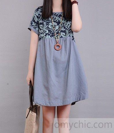 Linen clothing-Retro blue linen sundress floral print cotton summer shift dresses blouse shirt