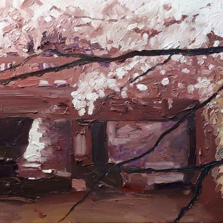 Richard Claremont #Art in #Japan - Night Blossom and Bridge - #Oil #Paintings for Sale