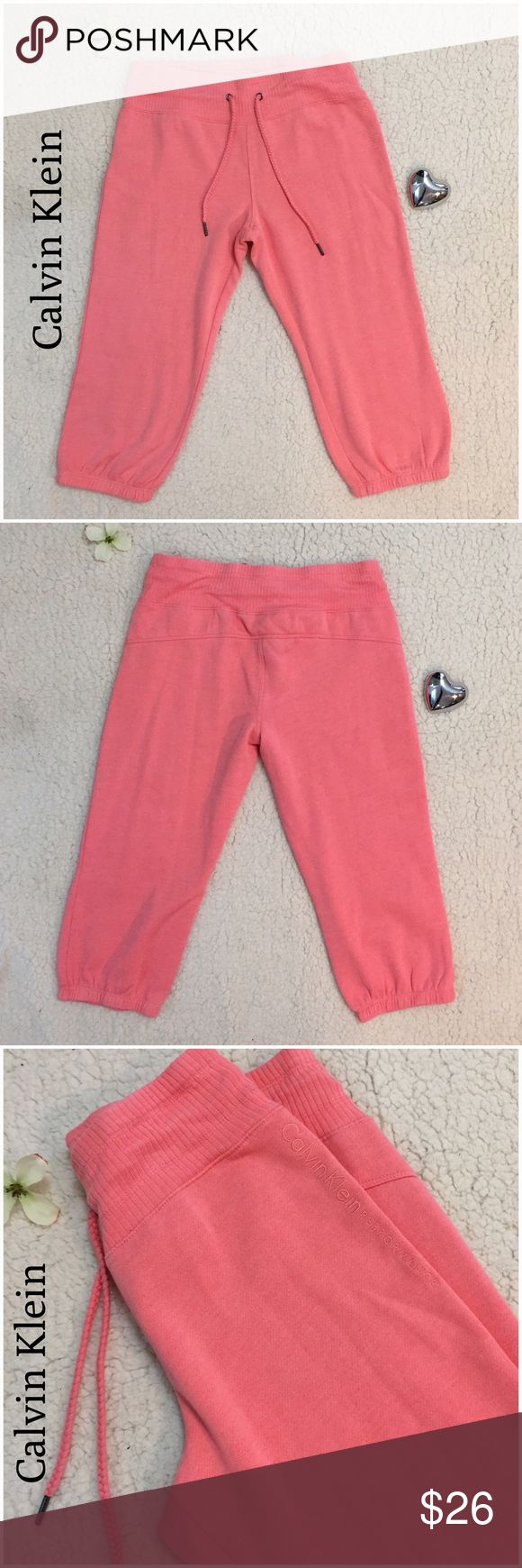 Calvin Klein Performance Coral Capri Sweats NWOT, beautiful Spring and Summer color. They are lighter weight then the other CK capris. No flaws Calvin Klein Pants Track Pants & Joggers
